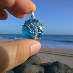 Silver Tree of Life Turquoise Necklace